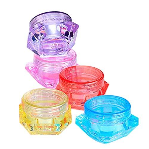 Minkissy 5 Pcs Vide Cosmétique Échantillon Conteneurs Diamant Forme Portable Rechargeables Pots de Maquillage pour Crème Baume à Lèvres Poudre Libre Fard à Paupières Toners 5G (Couleur Aléatoire)