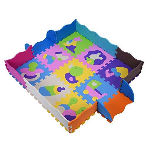 Mumusuki Wasserdicht und waschbar 9Pcs 30 * 30cm weicher Eva-Schaum Baby Play Puzzle Matten mit Zäunen Bunte pädagogische Kinder Spielen