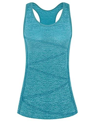Yoga Camiseta, Camiseta Deportiva para Mujer, Mujer Sin Mangas Tank Top, Camiseta Mujer Deporte Sin Mangas para Yoga Fitness y Deportes(Azul eléctrico, M)