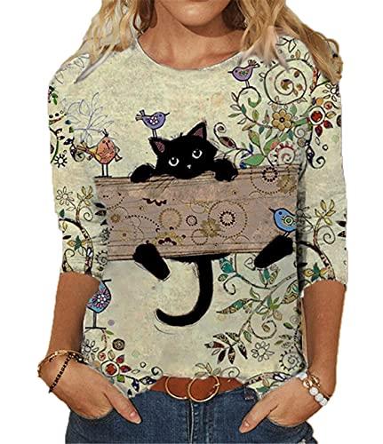Sudadera Ligera con Estampado 3D de Gato de Dibujos Animados para Mujer, Camisetas Casuales de Manga Larga con Cuello Redondo y pulóver