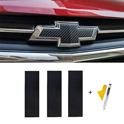 LANZMYAN Bowtie Logo Wrap Sticker for Chevy Carbon Fiber Cut-Your-Own Emblem Overlay DIY Decal 3PCS Black