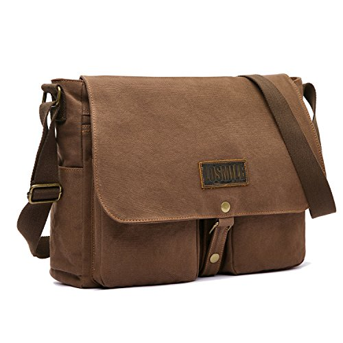 LOSMILE 15.6' Laptop Shoulder Bag, Men's Messenger Bags, Vintage Canvas Bag for School and Work, Satchel Bags, Large Size.(Coffee)