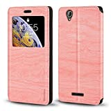 Acer Liquid Z630 Case, Wood Grain Leather Case with Card
