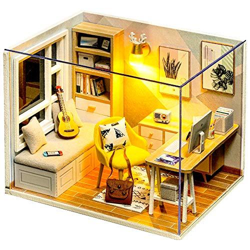 Fsolis Miniatura casa delle Bambole con mobili,9D Fai da Te Kit di Dollhouse di Legno Oltre a Prova di Polvere e Il Movimento della Musica Regalo Creativo