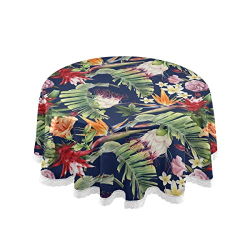 KFBE Palm Leaf Flowers Tropical Round Tablecloth 60 inch Plant Pretty Pattern Table Cloth for Circular Table Cover Heat-Resistant Washable Polyester for Dining Party Halloween Christmas Decor 2080049