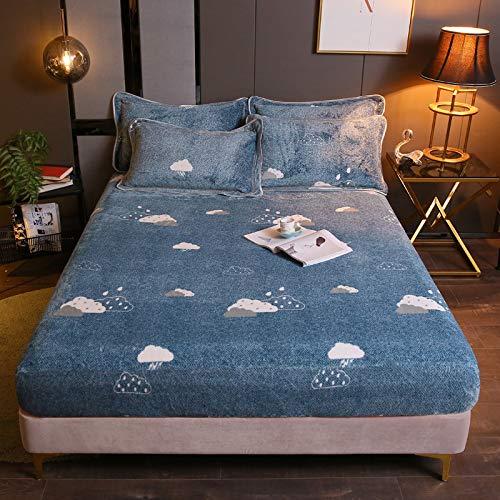 BIANXU Funda de colchón de franela elástica para invierno, súper suave, grande y individual, 200 x 220 x 30 cm, sin funda de almohada