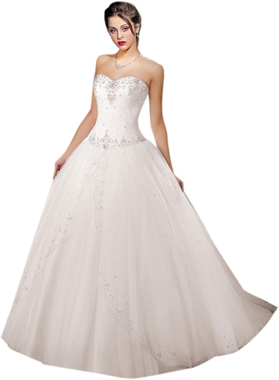Dearta Women's Ball Gown Sweetheart Sweep Brush Train Tulle Wedding Dresses