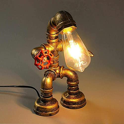 SpiceRack Lámpara de Mesa Personalizada, iluminación Retro Loft E27 Vintage Industrial Edison Lámpara de Mesa con Base de Metal Antiguo con Interruptor Decorativo para cafetería Bar Lámpara