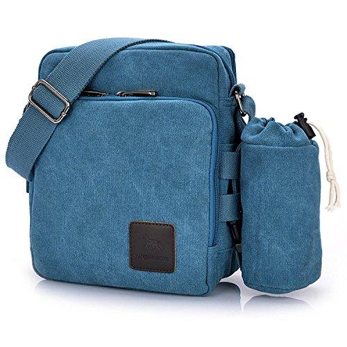 Outreo Borsa Tracolla Uomo Borse da Spalla di Tela Canvas Messenger Bag Vintage Sacchetto di Tablet Piccolo Borsello per Studenti Scuola Università Tasche Viaggio Outdoor Sport Tasca (Blu One)