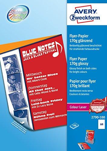 AVERY Zweckform 2790-100 Colour Laser Flyer-Papier (A4, beidseitig beschichtet, glänzend, 170 g/m², 100 Blatt)