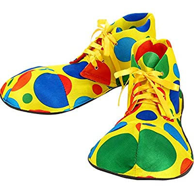 Unisex Clown Shoes Rainbow Halloween Costumes, Accessories, Props and Kits (L, Rainbow Dots) from