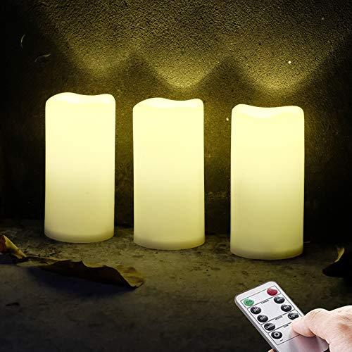 3 Outdoor Stück LED im Freien Wasserdichte Kerzen, Batteriebetriebene Plastikkerze mit Fernbedienung/Timer-Funktion (Warmweißes Licht) - 8cm X 15cm