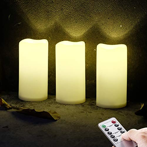 3 X 6'' Outdoor Waterproof Flameless Candles, Warm White LED Rainproof Pillar Battery Plastic Candle with Remote Control/Timer, Set of 3