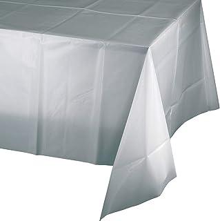 غطاء طاولة بلاستيكي من كرياتيف كونفيرتينغ، طول 108 × عرض 54 انش، فضي لامع
