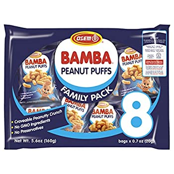 Osem Bamba Peanut Snacks for Babies - All Natural Baby Peanut Puffs Family Pack  Pack of 8 x 0.7oz Bags  - Peanut Butter Puffs made with 50% peanuts.