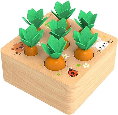 XIAPIA Jouet en Bois Blocs Motricité Fine Jeu de tri Jouets Montessori Récolte de Carottes pour Garçons Filles Puzzle...