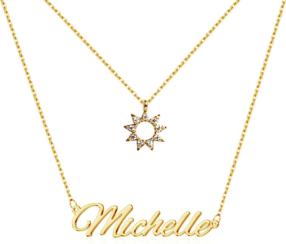 TinyName Custom Name Necklace Personalized, 18K Gold Plated Personalized Layered Choker Name Plate Necklace Customized Name Necklace for Women