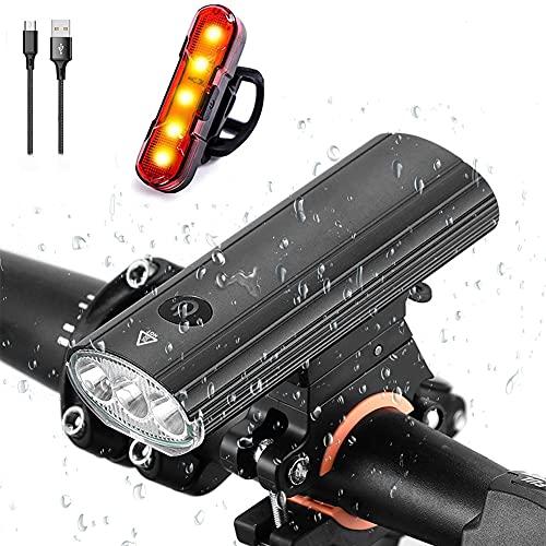 Oyeeice 3-in-1 LED-Fahrradbeleuchtungsset,USB-aufladbares Fahrradbeleuchtungsset, IP65 wasserdicht Drei Beleuchtungsmodi als Fahrradbeleuchtung nutzbar, mobile Stromversorgung, Lautsprecher (4300 mAh)