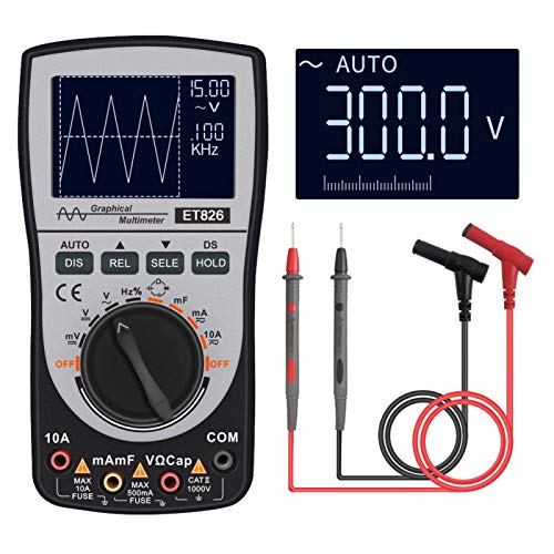 Tongdejing 2 In 1 Oscilloscope Multimeter, Intelligent Digital Scope Meter Multimeter DC/AC Voltage Resistance Frequency Diode Tester with Bar Graph