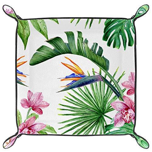 Orquídeas rosas y Royal PU cuero bandeja plegable para dados para guardar relojes, joyas, estuche de almacenamiento