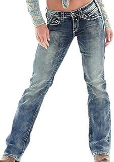 Guiran Women Bootcut Jeans Low Waist Light Wash Boyfriend Stretch Straight Trousers Pants
