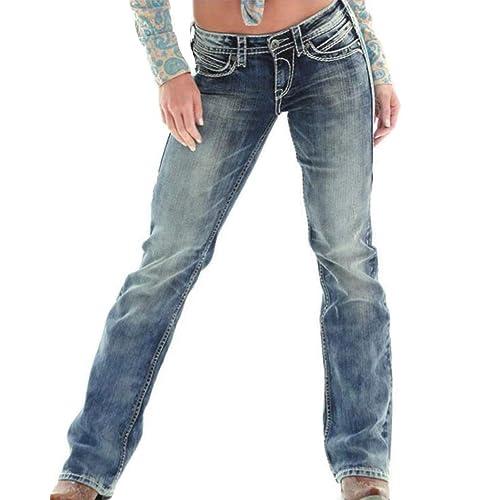 Mujer Retro Push Boyfriend Elasticos Oscuro Azul Up Vaqueros Pantalones Jeans Anchos Rectos M Guiran Rotos Hqdff