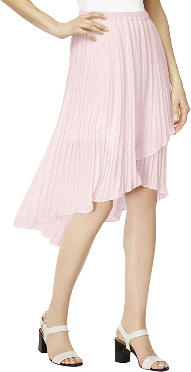 NY Collection Women's Pleated Solid Assymmetical Fton Hem Skirt