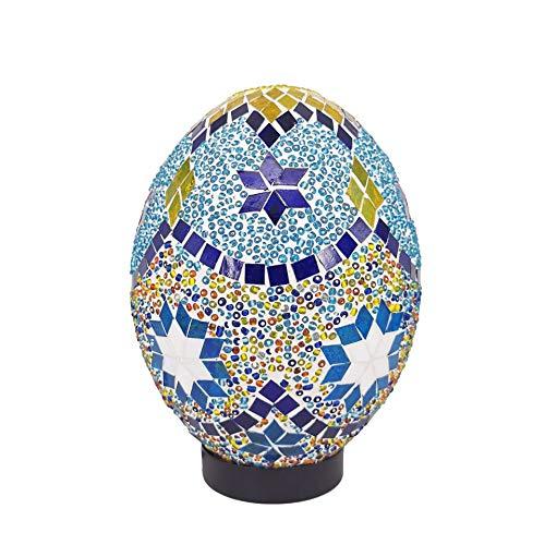 ACHNC Lampara Turca Lámpara Marroquí Oriental Lámpara de Mesa de Mosaico Lampara Escritorio Vintage Huevo Lámpara de Mesilla Dormitorio Decorativa Lámpara de Mesita de Noche Azul