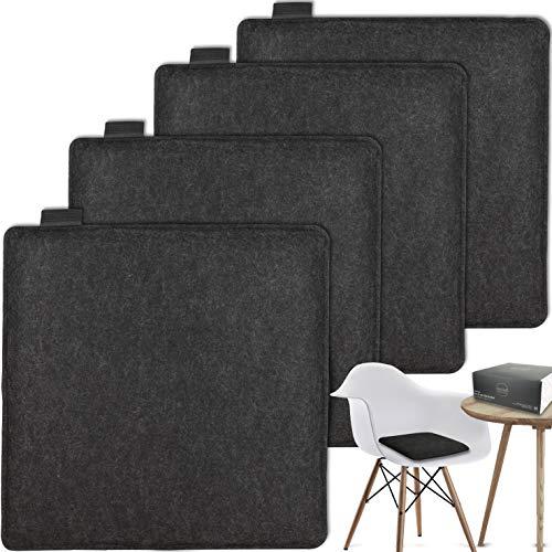 MAHEWA® Sitzkissen eckig aus Filz 35x35cm - 4er Set Waschbare Stuhlkissen passend für Retro Eames Stühle - Stuhl Sitzpolster Sitzauflage Dunkel-grau Anthrazit mit schwarzem Emblem