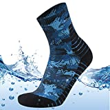 MEIKAN Men's Women's Work Rain Gear Waterproof Quarter Crew Moisture Wicking Dry Fit Cycling Mountain Biking Socks 1 Pair (Blue, Large)