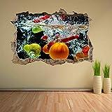 Pegatinas de pared Frutas mixtas salpicaduras de agua etiqueta de la pared mural calcomanía tienda de casa decoración de la cocina adesivi da parete camera da letto 70 * 100cm
