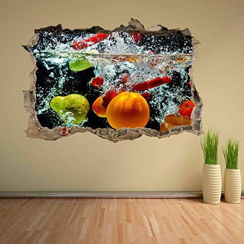 Pegatinas de pared Frutas mixtas Salpicaduras de agua Etiqueta de la pared Mural Calcomanía Inicio Tienda Cocina Decoración C Póster Arte 3D Mural 50x70cm