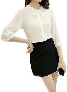 GuDeKeレディース 大人可愛い 春 夏 シンプル ゆったり ゆるかわ 抜け感 シフォン 七分袖 とろみシャツ ブラウス