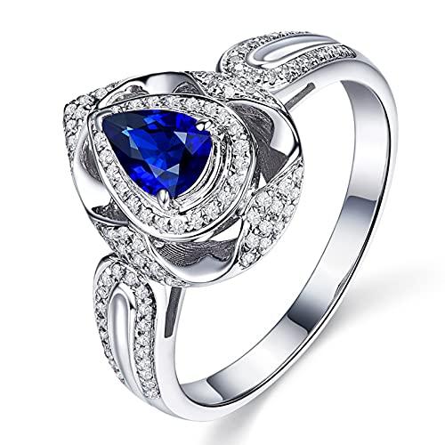 Amody Anillos de Boda Oro 18K, Anillos de Matrimonio Hueco Lágrima con Diamante y Zafiro 0.6ct Tamaño 6,75-25