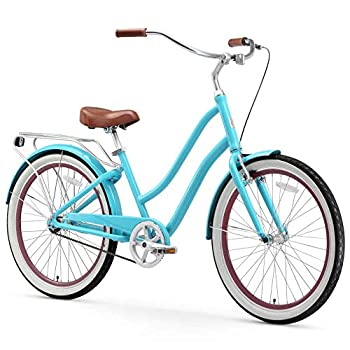 sixthreezero EVRYjourney Women s 3-Speed Step-Through Hybrid Cruiser Bicycle 26  Wheels with 17.5  Frame Teal with Brown Seat and Grips