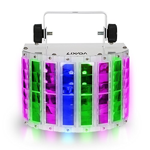 Lixada 24W DJ Light 8 Colors LED Stage Light wide beam effect, 6 Channel DMX 512 Sound-activated Party Light with IR Remote for DJ Home KTV Disco Stage Effect Lighting Metal Casing
