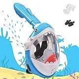 Mascara de Buceo para Niños, Diseño de Tiburones Máscara de Snorkel 180 ° Panorámico Máscara de Buceo de Cara Completa Cámara de Acción Compatible con Anti-Niebla y Anti-Fugas