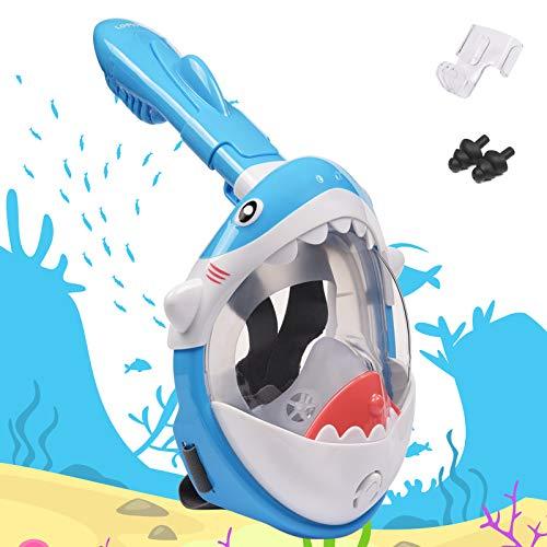 LEMEGO Tauchmaske für Kinder Hai-Förmige Vollgesichtsmaske sicher Easybreath Anti-Fog Schnorchelmaske Vollmaske Taucherbrille Lebensmittel-Silikon Dry Top System mit Aktion-Kamera-Halterung