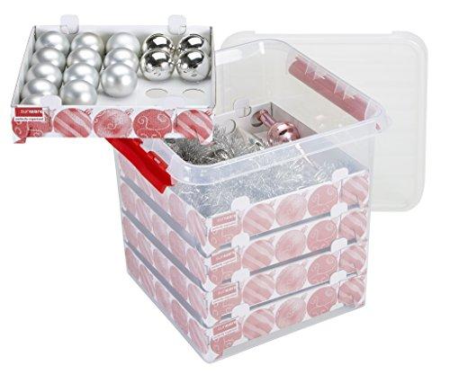 Sunware Q-Line Weihnachtskugeln mit Ablagen für 125 Kugeln transparent rot 38 Liter