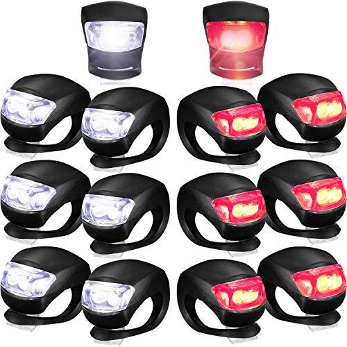 Frienda Set de Luces Bicicleta Luz de Bicicleta Silicona LED Delanteros y Traseros Faro y Luz Trasera Bicicleta Impermeable Luz Ciclismo Multipropósito, Baterías Incluidas (Luz Roja y Blanca) (14)