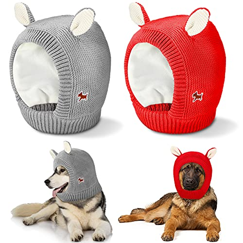 2 Pieces Quiet Ears for Dogs Cute Dog Ear Muffs Warm Dog Knitted Hat Noise Protection Dog Grooming Earmuffs Pet Christmas Warm Caps Puppy Hat for Pets Dogs Cats Anxiety Relief Calming (Red, Gray)