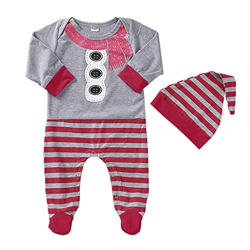Sensail 3-12mois Costume de Noël pour Enfants Ensemble de Bonhomme de Neige à Rayures et à Manches Longues imprimé Onesies Combinaison Bébé+ Chapeau Costume
