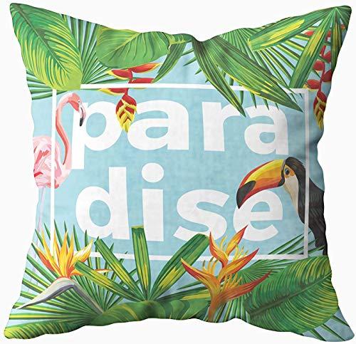 Art Funda de almohada, moderna eslogan Paradise in the Frame The Composición of Tropical Banana 20 x 20 fundas de almohada, decoración del hogar, fundas de almohada con cremallera para sofá