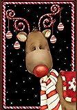 Toland Home Garden Candy Cane Reindeer 12.5 x 18 Inch Decorative Winter Christmas Holiday Ornament Garden Flag