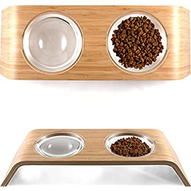 Elevated Dog & Cat Feeder by Fox & Fern - 4  Raised Pet Bowls Stand from Bamboo Wood - Cats and Dogs Feeding Station - Whisker Fatigue Proof - Mid Century Modern - Smooth Version