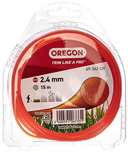 Oregon Cable de Corte Redondo para cortacésped, línea de Repuesto Universal para Todos los Cabezales estándar, 2,4 mm x 15 m, Naranja (69-362-OR)