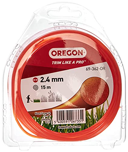 OREGON Bobine de Fil Nylon Rond pour Coupe-bordure, Fil de Coupe de Remplacement 2,4mm x 15m, Orange (69-362-OR), Compatible avec Toutes Têtes de Coupe