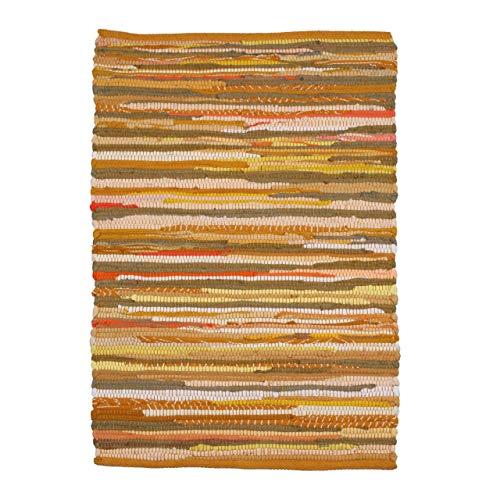 Alfombra de trapo 100% algodón, 61 x 91 cm, multicolor, tejida a mano y reversible, para salón, cocina, entrada, color mostaza