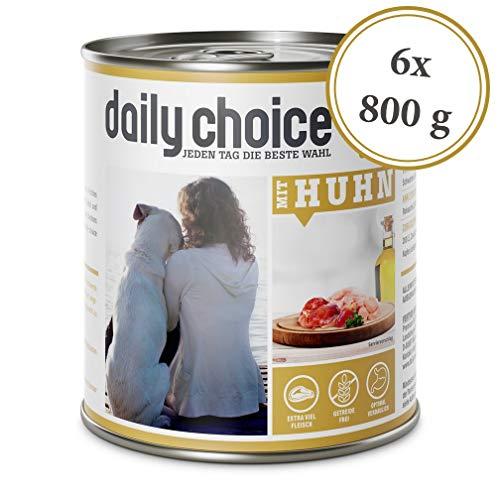 daily choice   6 x 800 g   Nassfutter für Hunde   getreidefrei   Mit Huhn   70% Frischfleisch- und Innereienanteil Optimale Verträglichkeit
