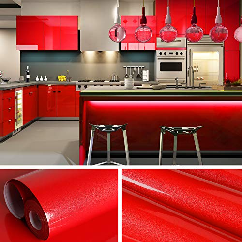 VEELIKE 15.7'×118' Red Contact Paper Shiny for Cabinets Red Wallpaper Peel and Stick Countertops Self Adhesive Removable Waterproof Vinyl Wall Paper for Kitchen Bedroom Bathroom Living Room Walls